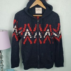 Hollister navy zip-up sweater with hood